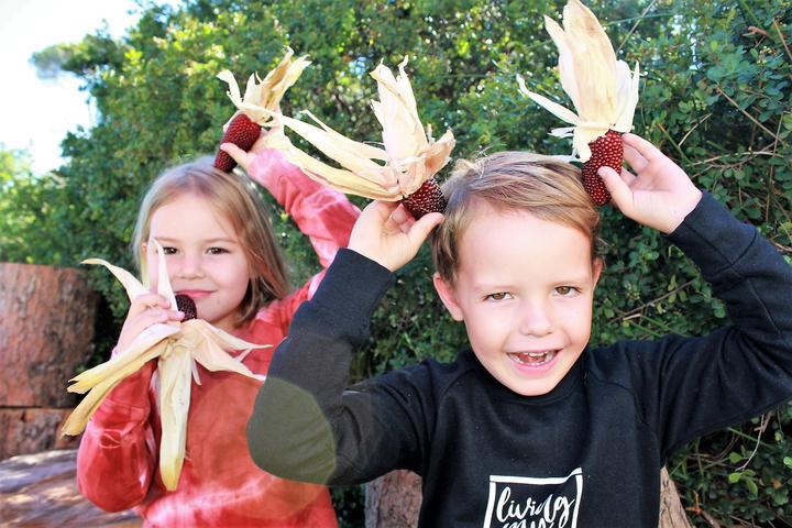 kiddies growing stuff in garden eco balance lifestyle